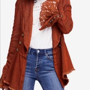 Free People Lace Sleeve Jacket Pirate Inspired S